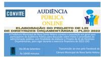 Dia 09 de setembro acontece uma importante audiência pública online para debater LDO-2022